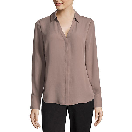 Worthington Long Sleeve Soft Blouse - Tall, Large Tall , Brown