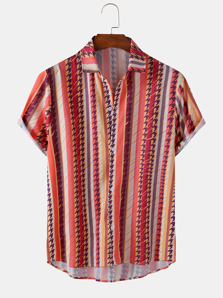 Mens Retro Ethnic Colorful Stripe Print Light Short Sleeve Shirts