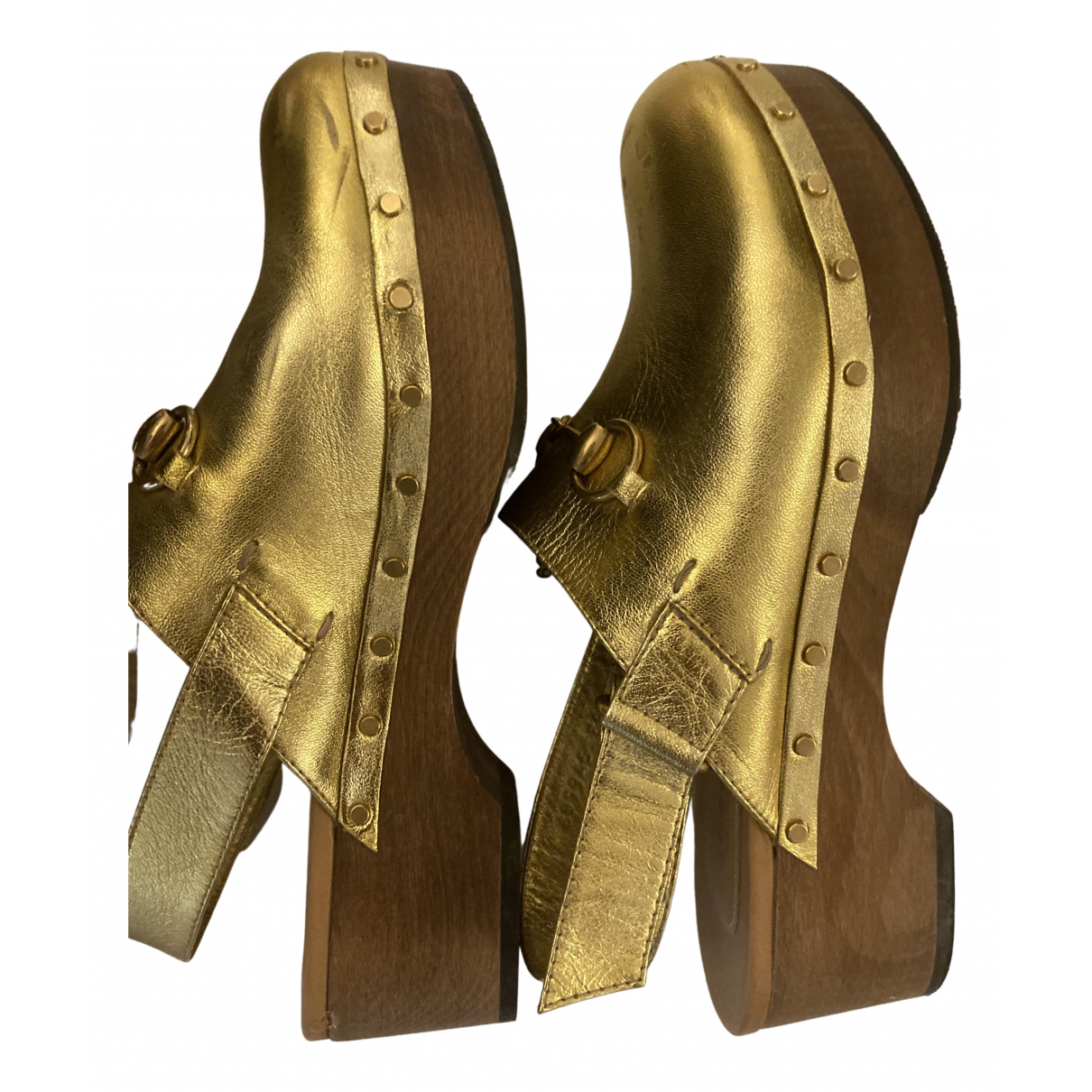 Gucci \N Gold Leather Mules & Clogs for Women 39 EU