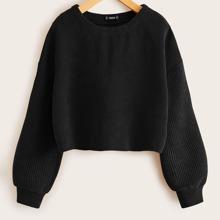 Drop Shoulder Solid Cord Crop Pullover