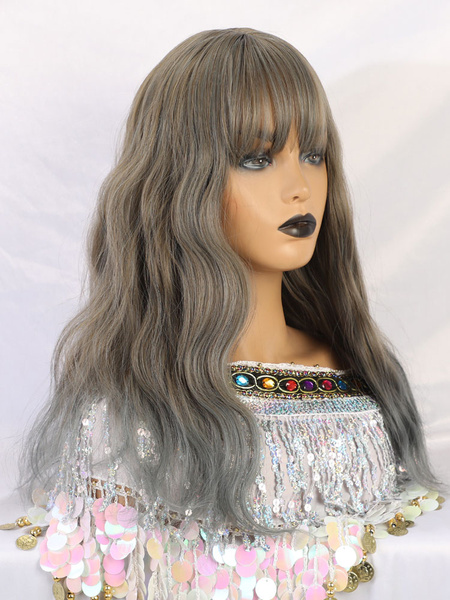 Milanoo Long Wig For Woman Baby Blue Curly Rayon Comfy Tousled Long Synthetic Wigs