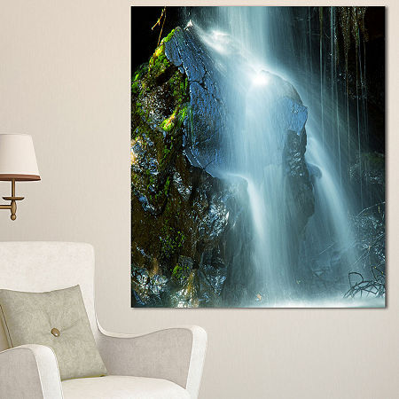Designart Amazing White Water Cascade Landscape Canvas Art Print - 3 Panels, One Size , White