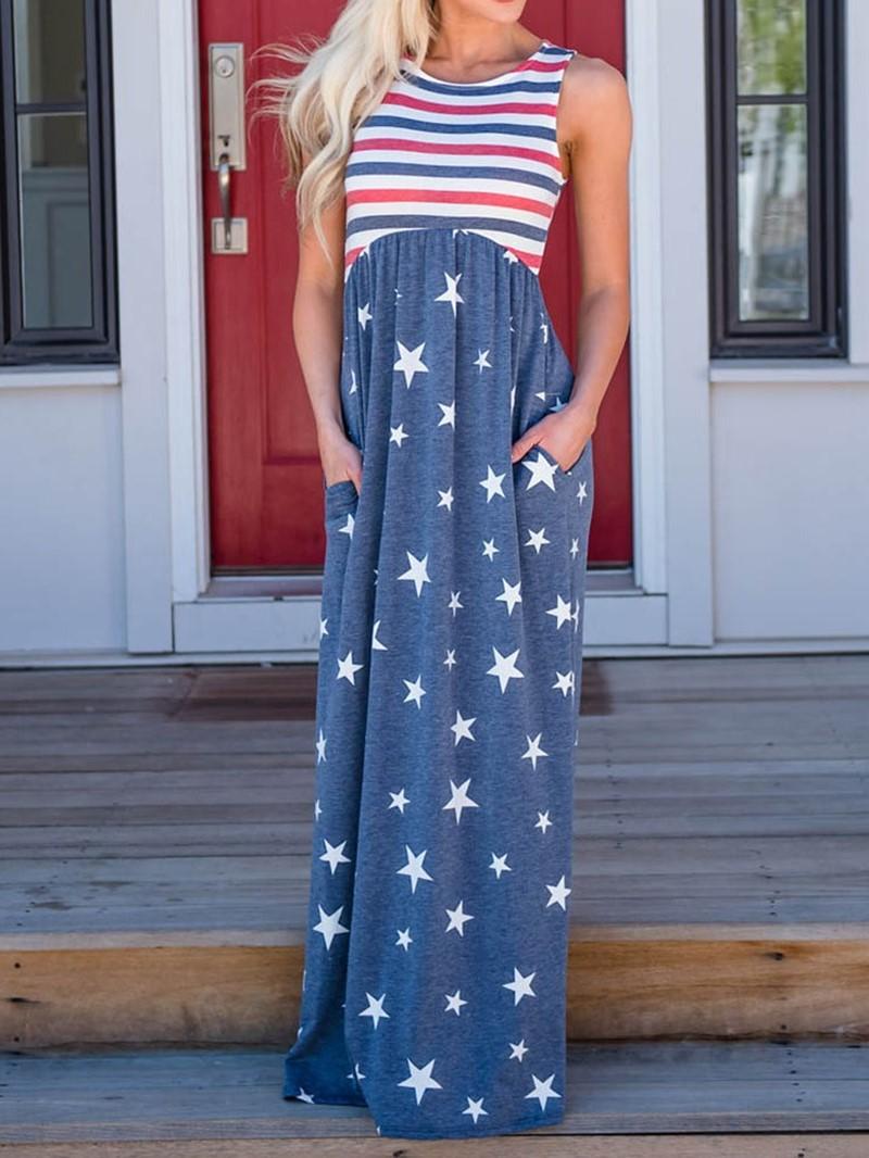 Ericdress Floor-Length Sleeveless Print Floor-Length Star A-Line Dress