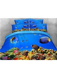 Fish Aquarium Digital Printing 4-Piece Bedding Sets/Duvet Covers