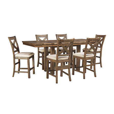 Signature Design by Ashley Kavarna 7-Piece Counter Height Dining, One Size , Brown