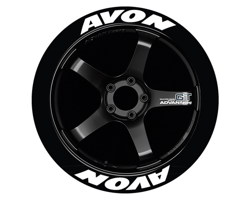Tire Stickers AVO-1416-125-4-O Permanent Raised Rubber Lettering 'Avon' - 4 Of Each - 14