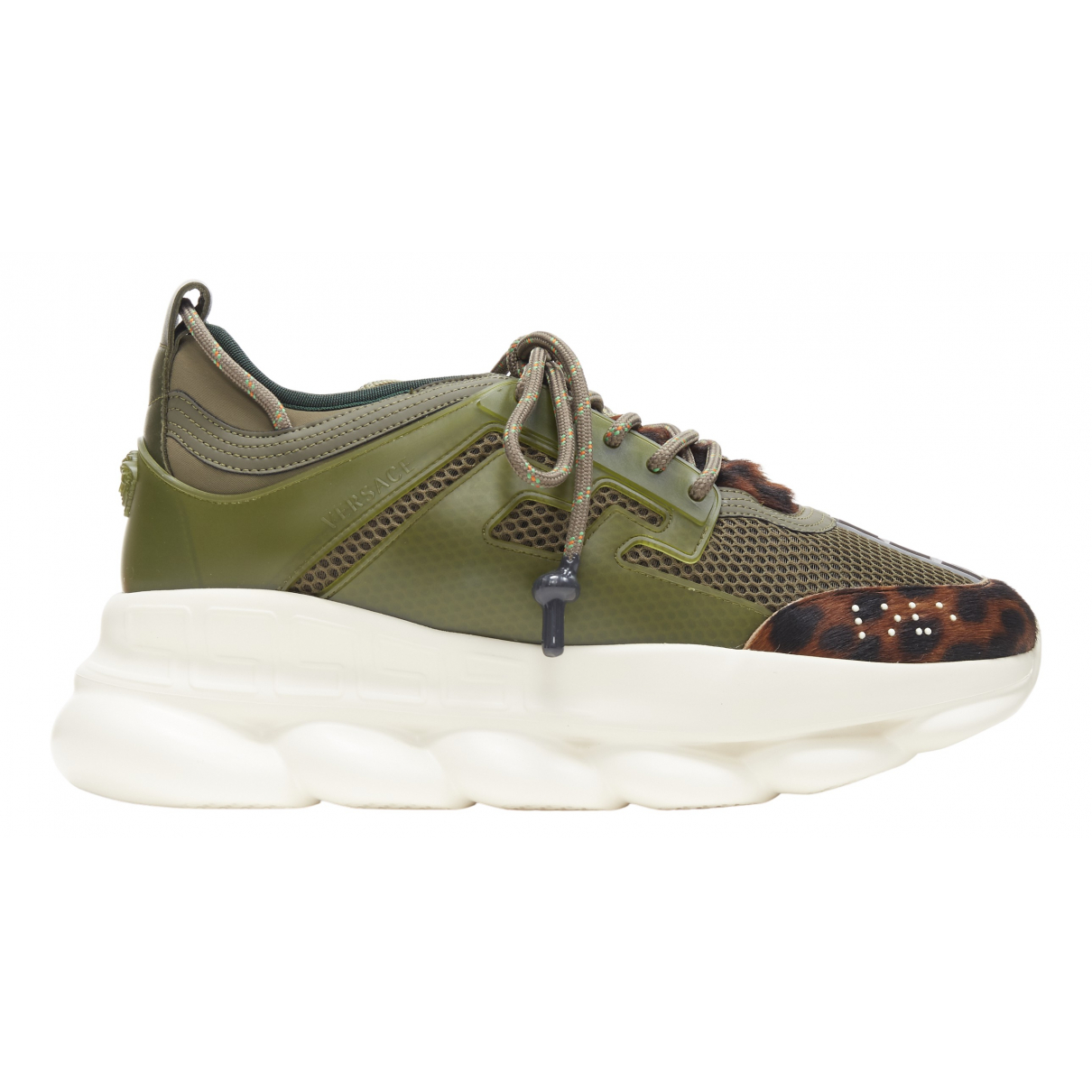 Versace Chain Reaction Green Leather Trainers for Men 44 EU