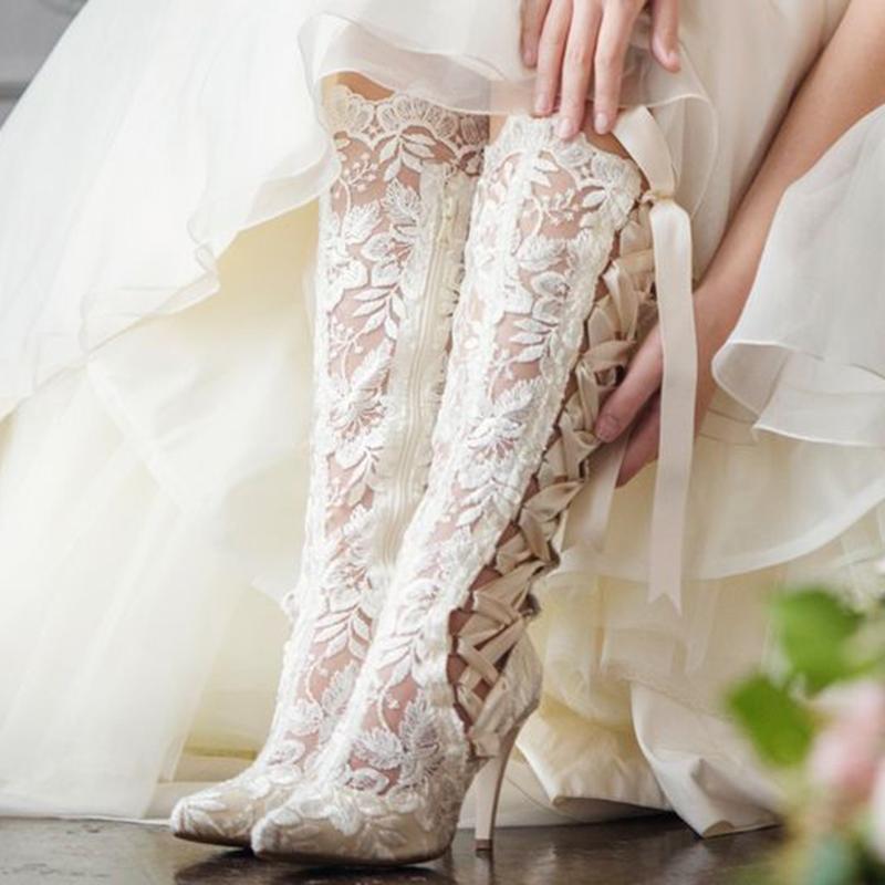 Ericdress Cross Strap Side Zipper Lace Women's Wedding Boots