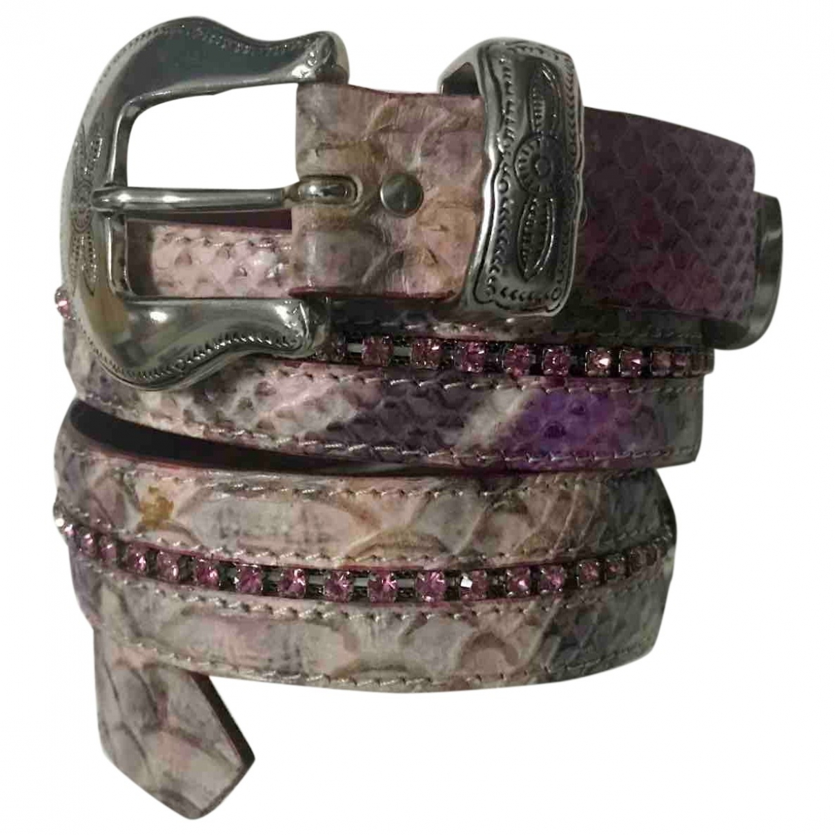 Non Signé / Unsigned \N Pink Python belt for Women 85 cm