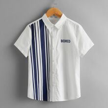 Boys Letter Graphic Striped Panel Shirt