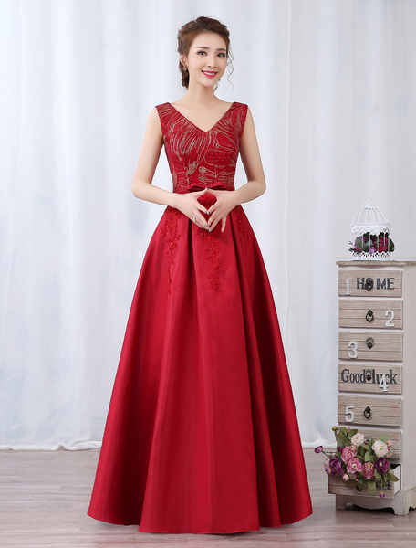 Milanoo Red Evening Dress Satin V Neck Prom Dress Beaded Bow Sash Sleeveless Formal Gown
