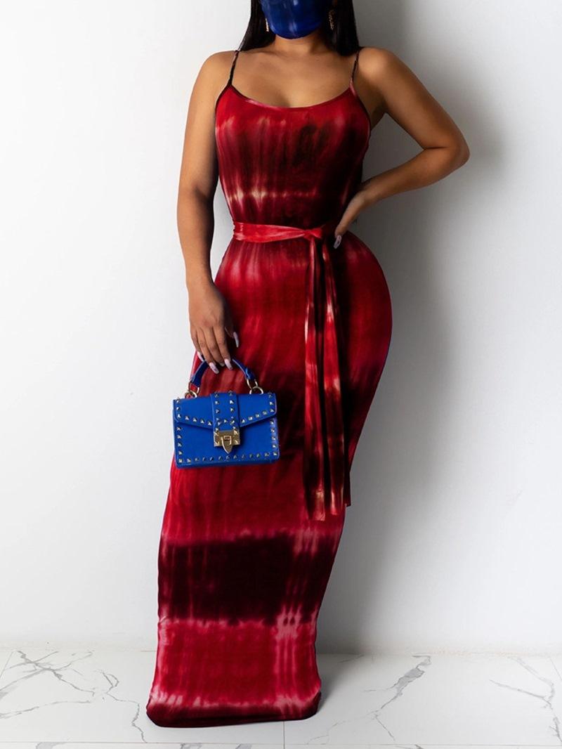 Ericdress Floor-Length Scoop Print Color Block Pencil Dress