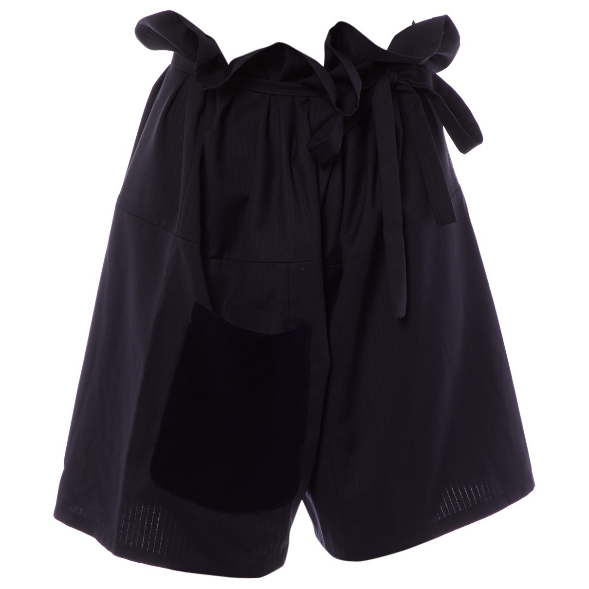 Non Signé / Unsigned Oversize Blue Wool Shorts for Women M International