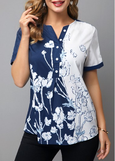 Women'S Navy Blue Floral Printed Short Sleeve Casual Blouse Buttin Detail Split Neck Tunic Top By Rosewe - L