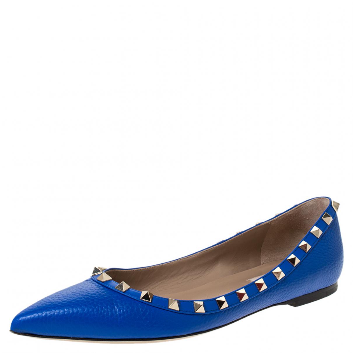 Valentino Garavani \N Blue Leather Flats for Women 8 US