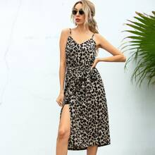 Leopard Print Wrap Belted Cami Dress