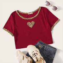 Heart Panel Leopard Trim Crop Top