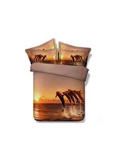 3D Jumping Dolphins under Sunset Printed 5-Piece Comforter Sets
