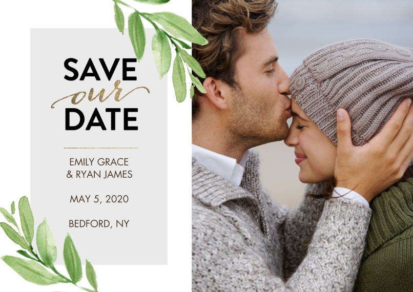 Save the Date 5x7 Cards, Premium Cardstock 120lb, Card & Stationery -Save the Date Watercolor Leaves