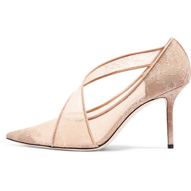 Ericdress Pointed Toe Stiletto Heel Slip-On Low-Cut Pumps