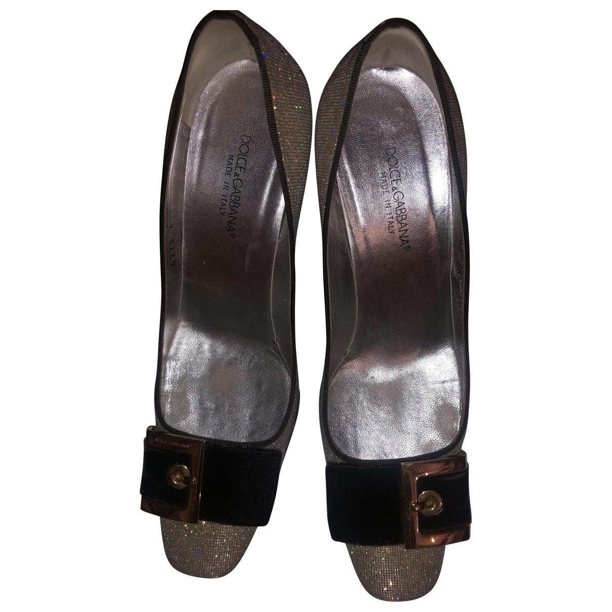 Dolce & Gabbana N Silver Cloth Heels for Women 36.5 EU