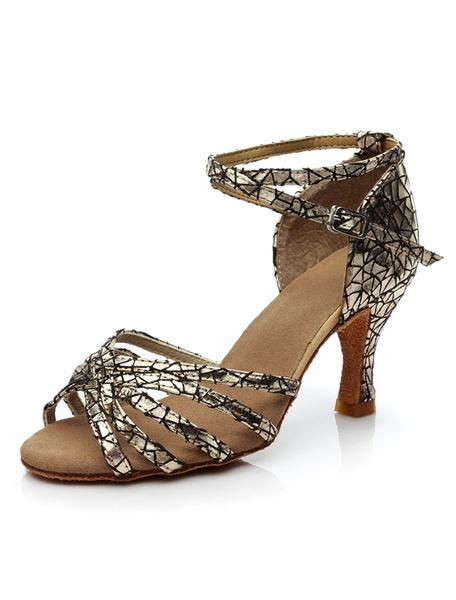 Milanoo Ballroom Dance Shoes Peep Toe Printed Criss Cross Latin Dance Shoes For Women