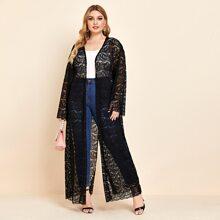 Plus Open Front Lace Kimono