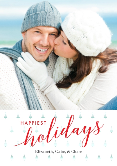 Holiday Photo Cards Flat Glossy Photo Paper Cards with Envelopes, 5x7, Card & Stationery -Happiest Holiday Trees