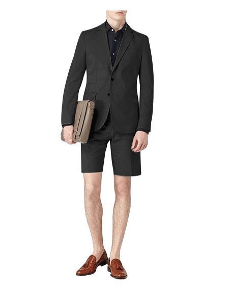 Men's Summer Business Suits With Shorts Pants Set (Sport Coat Looking)