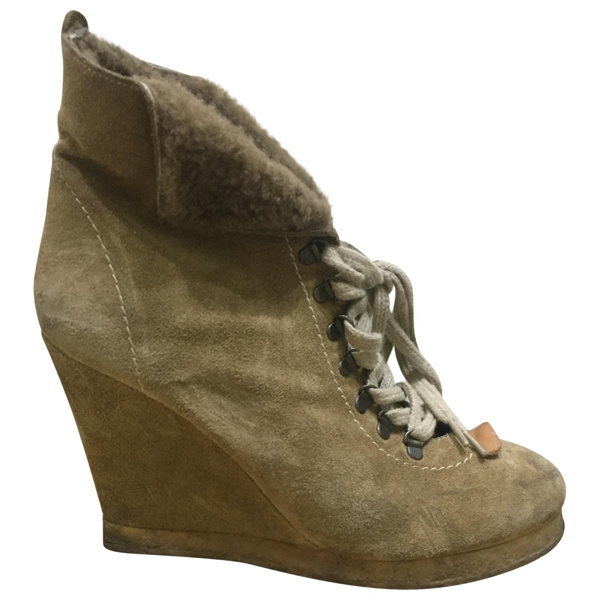 Sandro \N Camel Suede Ankle boots for Women 39 EU