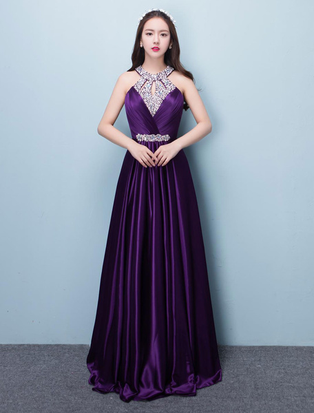 Milanoo Prom Dresses Long Lavender Satin Beaded Halter Backless Floor Length Formal Occasion Dress