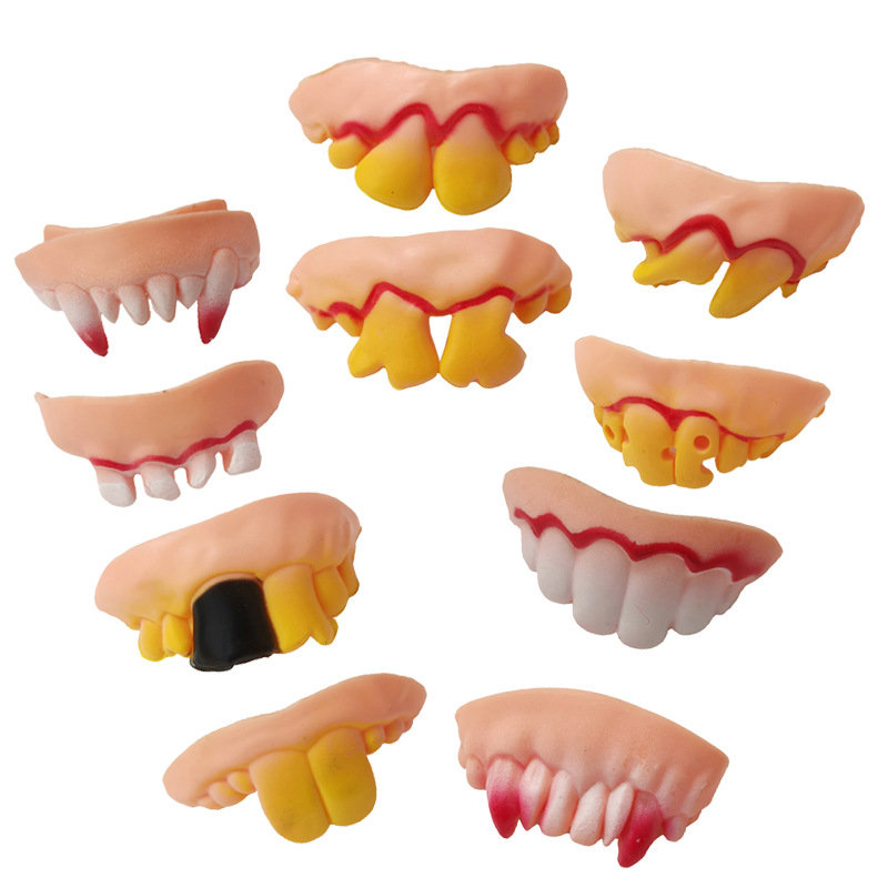 10Pcs Funny Tooth Vampire Teeth Zombie Incisors Toothy Halloween Party Masquerade Masks Fake Teeth