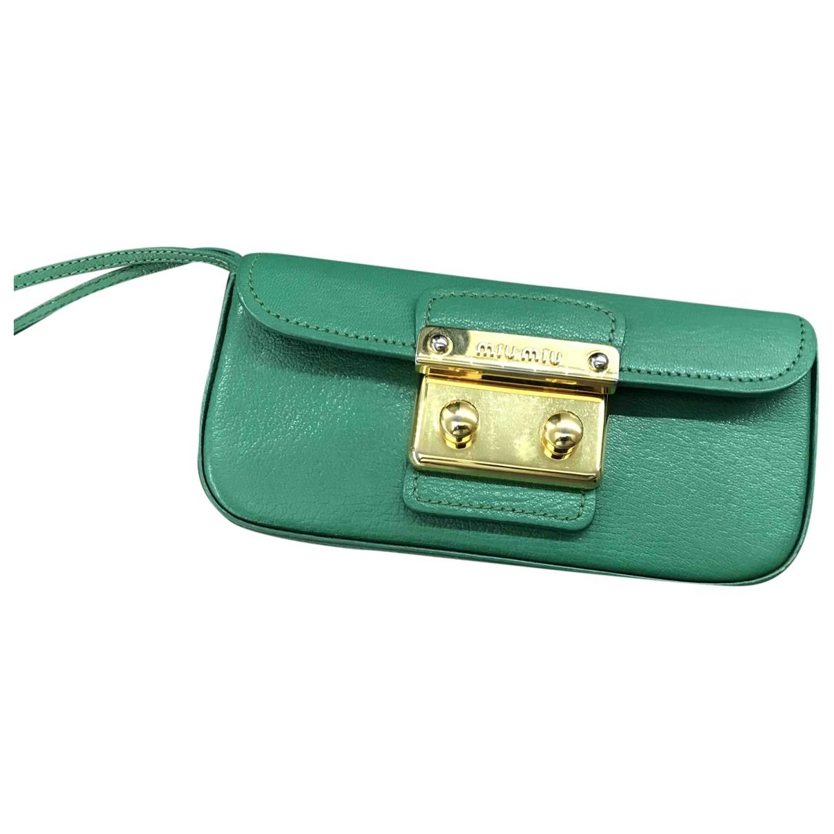 Miu Miu Madras Green Leather Clutch bag for Women \N