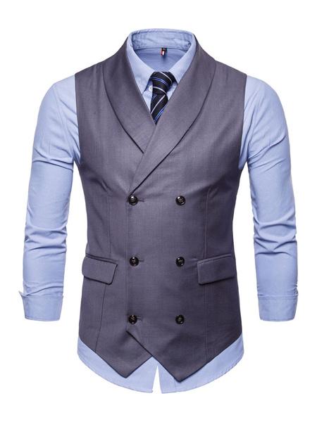 Milanoo Men Waist Coat Shawl Lapel Double Breasted Tuxedo Plus Size 1950s Grey Suit Vest