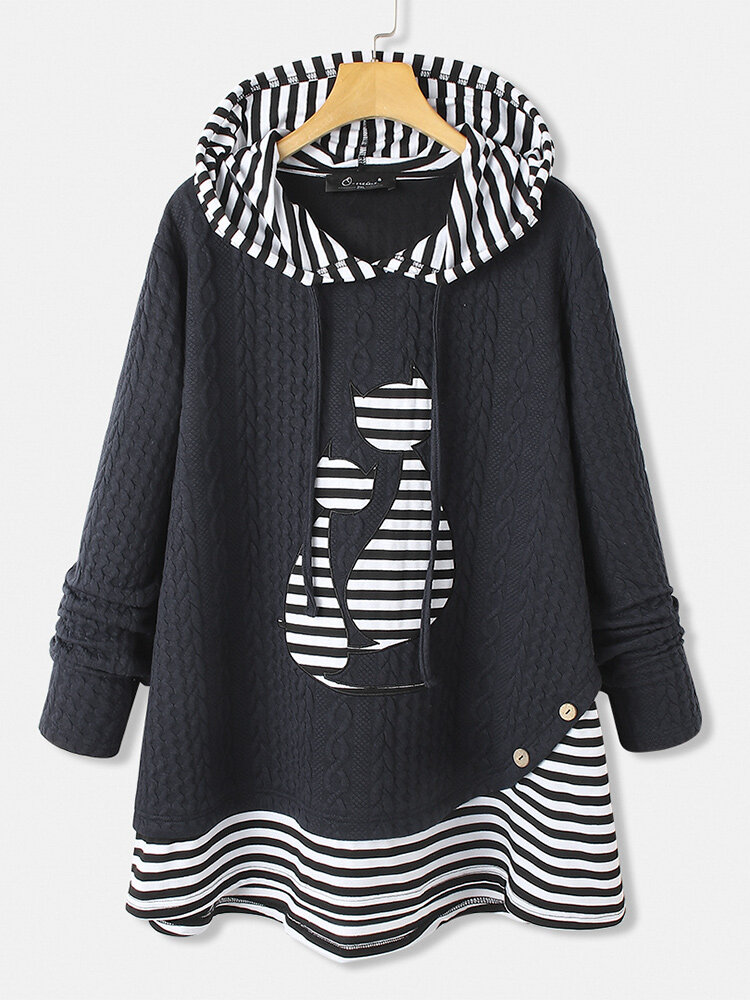 Cartoon Cats Print Striped Patchwork Plus Size Hoodie