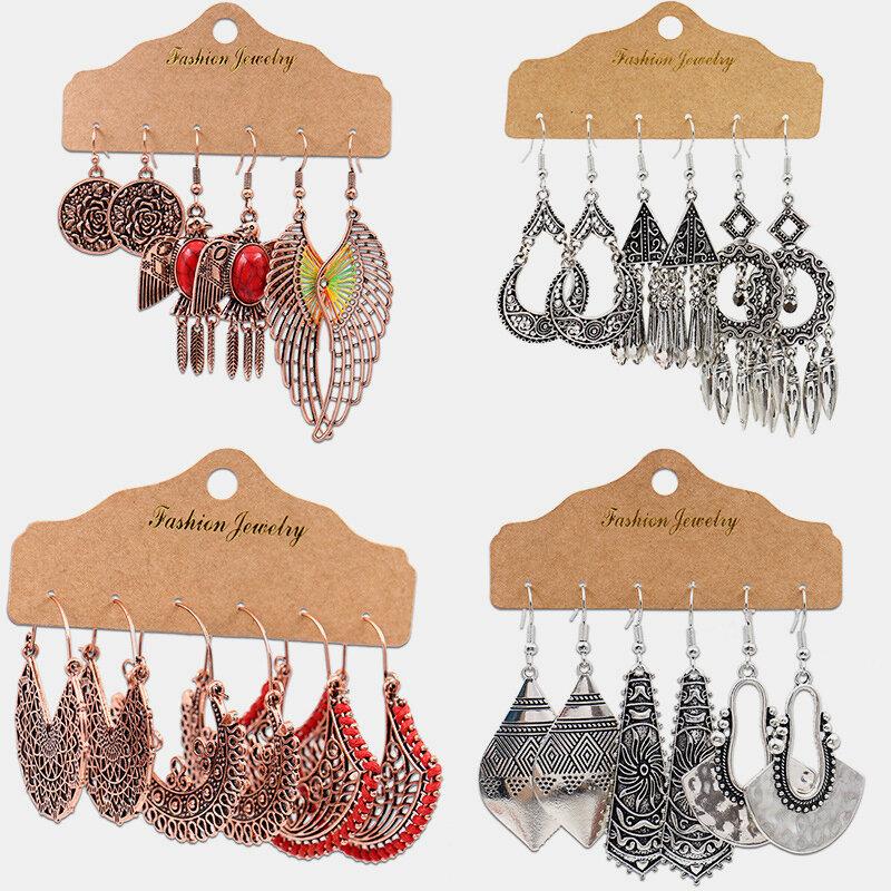 Vintage Geometric Wings Pendant Earrings Set Hollow Irregular Semi-circular Tassel Earrings