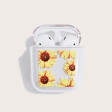 Sunflower Pattern Clear Airpods Case