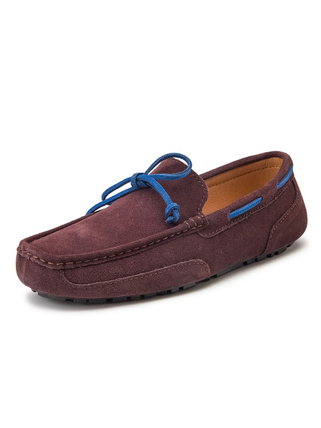 Milanoo Mens Brown Dockside Loafers Moccasin Shoes Slip-On Round Toe Driving Shoes