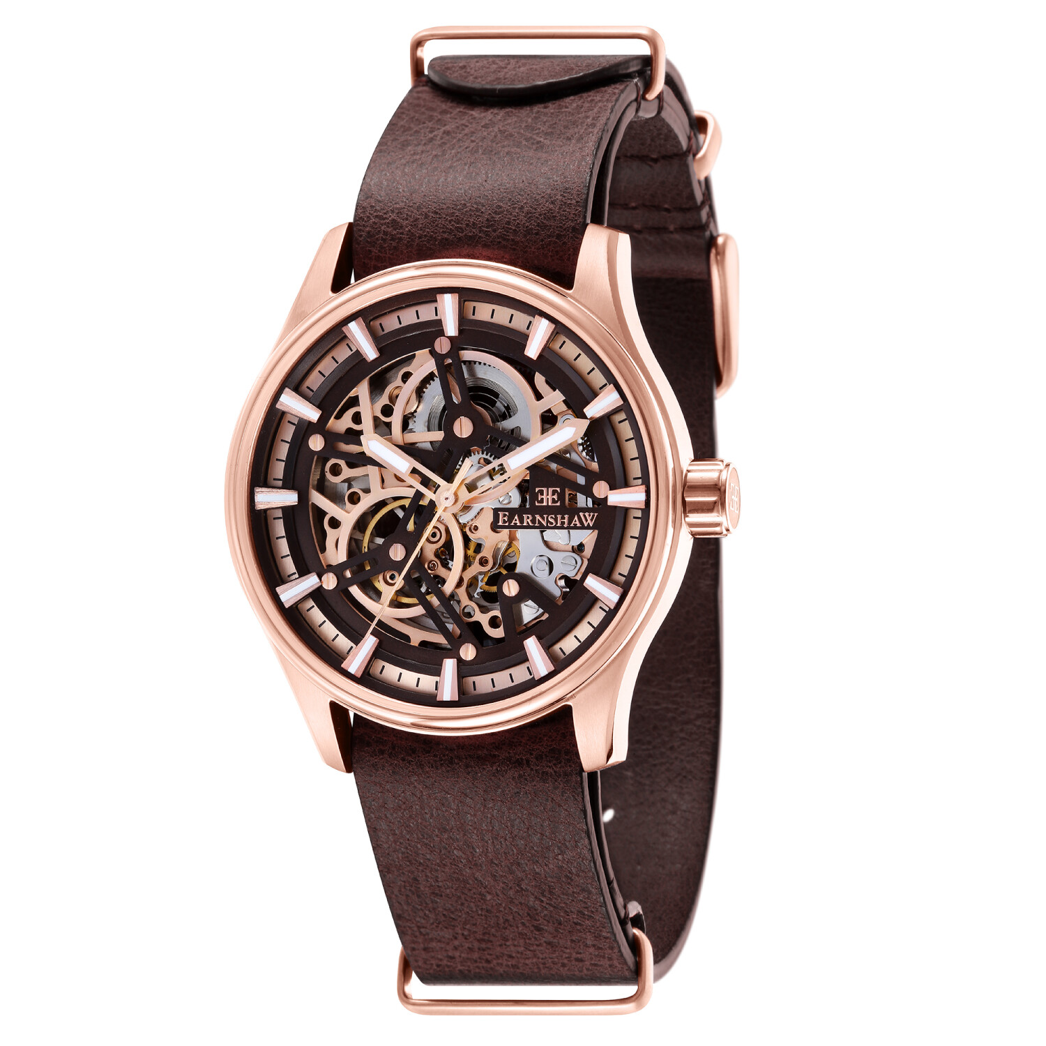 Thomas Earnshaw Men's Beagle Skeleton Automatic Woolwich Edition ES-8076-05 Brown Leather Hand Wind Dress Watch