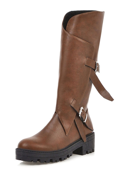 Milanoo Womens Mid Calf Boots Round Toe Buckle Block Heel Winter Boots
