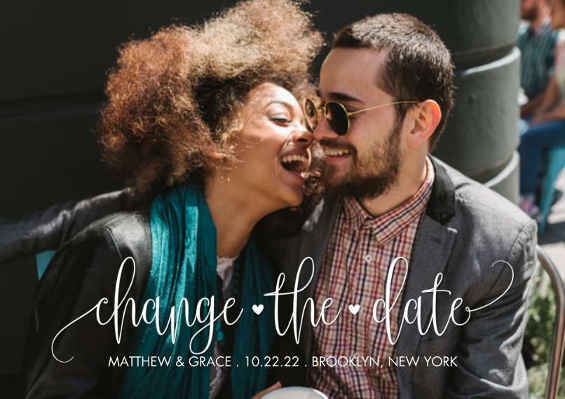 Change the Date 5x7 Cards, Premium Cardstock 120lb with Rounded Corners, Card & Stationery -Change the Date Hearts by Tumbalina