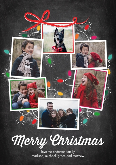 Christmas Photo Cards Flat Matte Photo Paper Cards with Envelopes, 5x7, Card & Stationery -Christmas Lights Snapshots Wreath by Tumbalina
