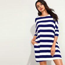 Batwing Sleeve Slant Pocket Striped Dress