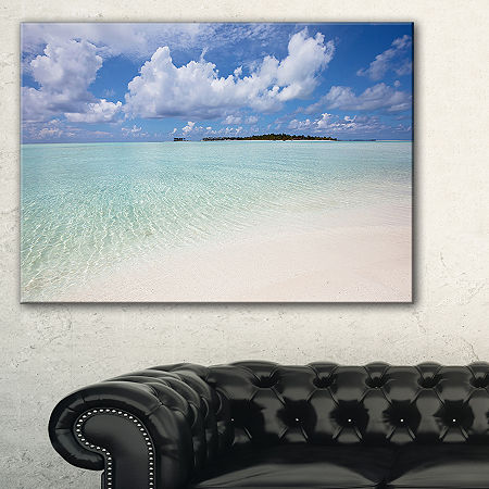 Designart Fascinating Maldives Empty Seashore Canvas Art, One Size , Blue
