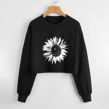 Sunflower Print Crop Sweatshirt