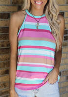 Striped Halter Camisole without Necklace