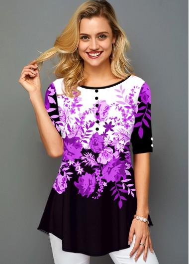 Round Neck Button Detail Floral Print T Shirt - M