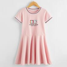 Girls Cartoon And Striped Smock Dress