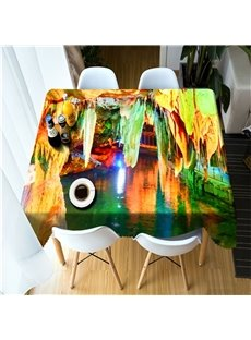 3D Colorful Karst Caves Wonderful Scenery Printed Thick Polyester Table Cover Cloth