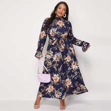 Plus Floral Print Frill Trim Flounce Sleeve Belted Dress